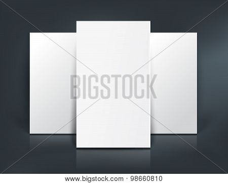 Three paper sheets mockup. Vector illustration