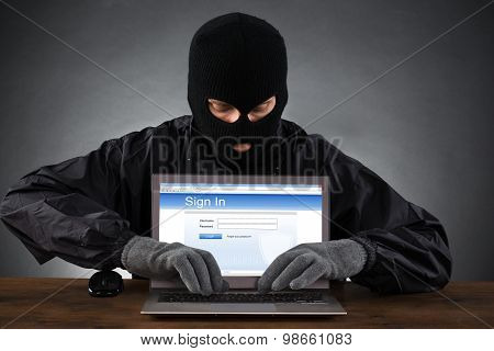 Hacker Hacking Account On Laptop