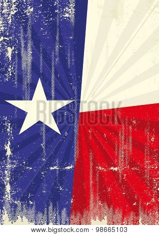 Texas retro sunbeams. A vintage texan poster with sunbeams and a a texture for your advertising