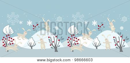 Seamless horizontal border with winter landscape and rabbits