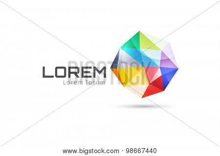 Vector globe abstract logo template. Tetrahedron 3d shape and globe symbol, geometric icon, triangle pattern, lines, web net. Company logotype. Stock illustration