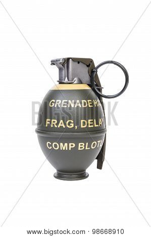M26 Frag Model, Weapon Army,standard Timed Fuze Hand Grenade On White Background