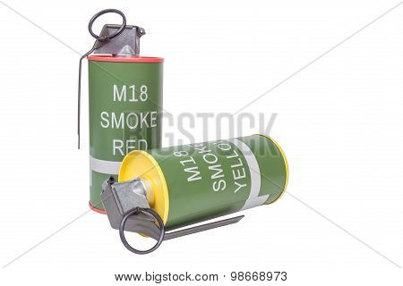 M18 Smoke Red and Yellow explosive model weapon armystandard timed fuze hand grenade on white background poster