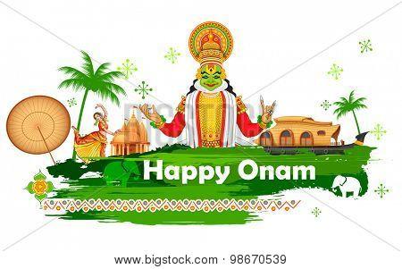illustration of Onam background showing culture of Kerala