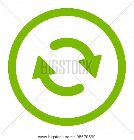 Refresh flat eco green color rounded vector icon