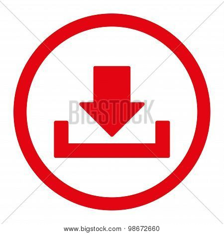 Download vector icon. This rounded flat symbol is drawn with red color on a white background. poster