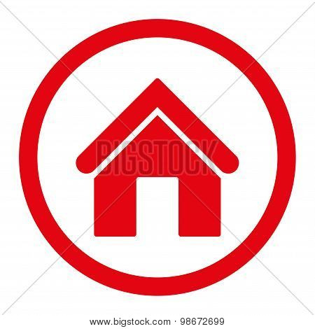 Home flat red color rounded vector icon
