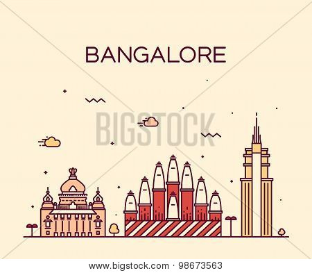 Bangalore skyline detailed silhouette Trendy vector illustration linear style poster