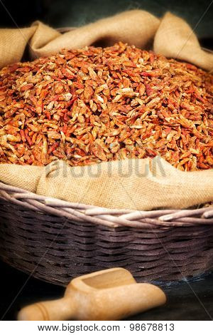 Hessian Bag Of Dried Chili Peppers
