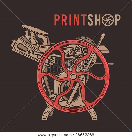 Letterpress overprint vector design. Vintage print shop logo. Old printing machine illustration.