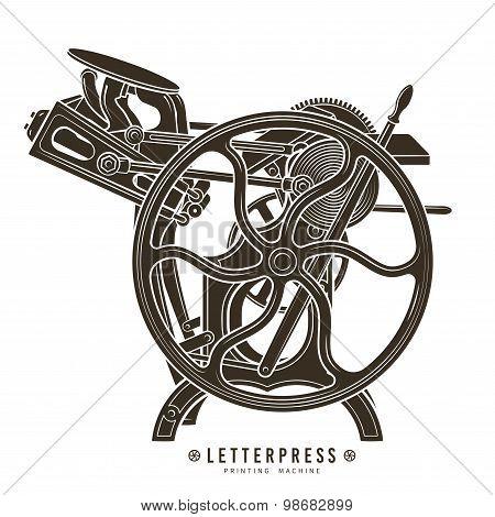 Letterpress printing machine vector illustration. Vintage print logo design.
