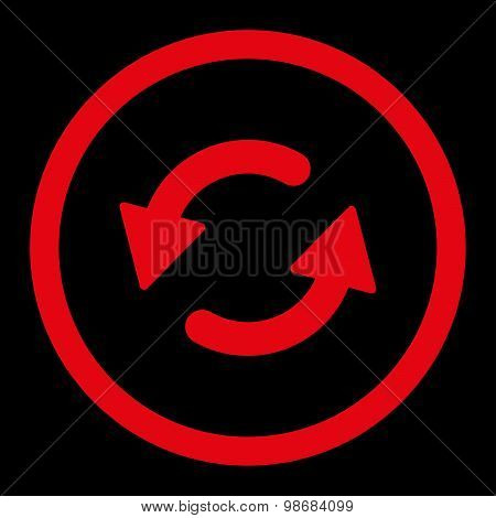 Refresh Ccw raster icon. This rounded flat symbol is drawn with red color on a black background. poster
