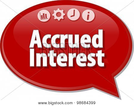 Speech bubble dialog illustration of business term saying Accrued Interest
