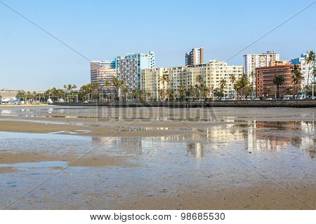 Buildings Lining  Esplanade At Low Tide Durban South Africa