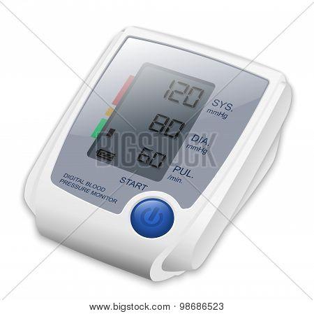 Digital Blood Pressure Monitor, Vector Illustration
