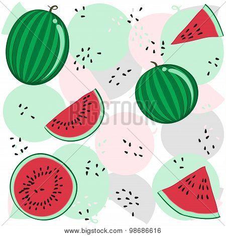 summer red watermelon vector pattern