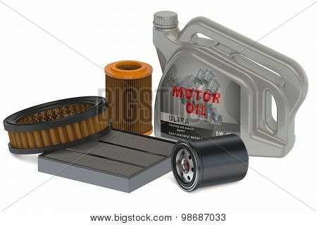 Car Oil Filters And Motor Oil Can