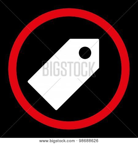 Tag flat red and white colors rounded vector icon