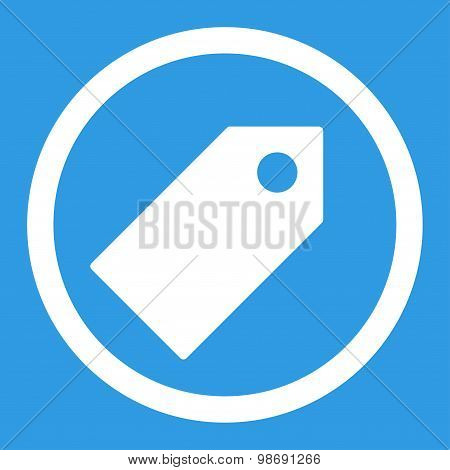 Tag flat white color rounded vector icon