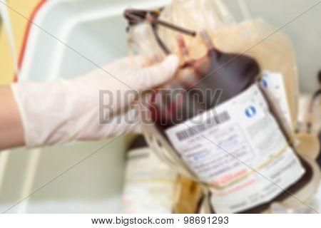 Defocus Bags Of Blood And Plasma