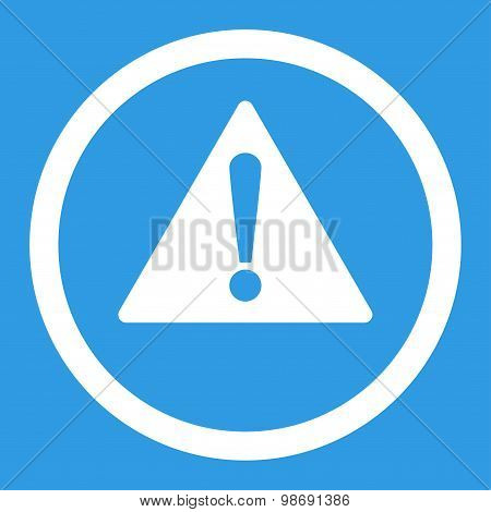 Warning flat white color rounded vector icon