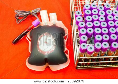 Close Up Bag Of Blood And Plasma And Rubber Tube