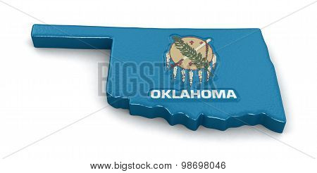 Map of Oklahoma state with flag