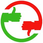 Thumb up and thumb down hands - vote or choice icon poster