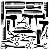 Barber hairdressing salon equipment - hairdryer scissors and comb poster