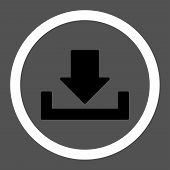 Download raster icon. This rounded flat symbol is drawn with black and white colors on a gray background. poster