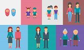 Childhood adolescence adulthood old age. Generations. People of different ages vector illustration for infographic poster