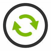Refresh raster icon. This rounded flat symbol is drawn with eco green and gray colors on a white background. poster