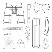Camping set: binoculars flashlight ax survival para cord bracelet folding pocket knife aluminum thermos compass lighter flask. Line-art illustration isolated on white poster