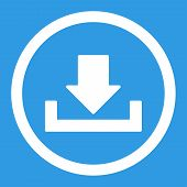 Download raster icon. This rounded flat symbol is drawn with white color on a blue background. poster