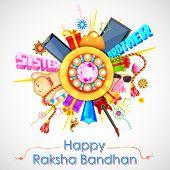 illustration of decorative rakhi for Raksha Bandhan sale promotion banner poster
