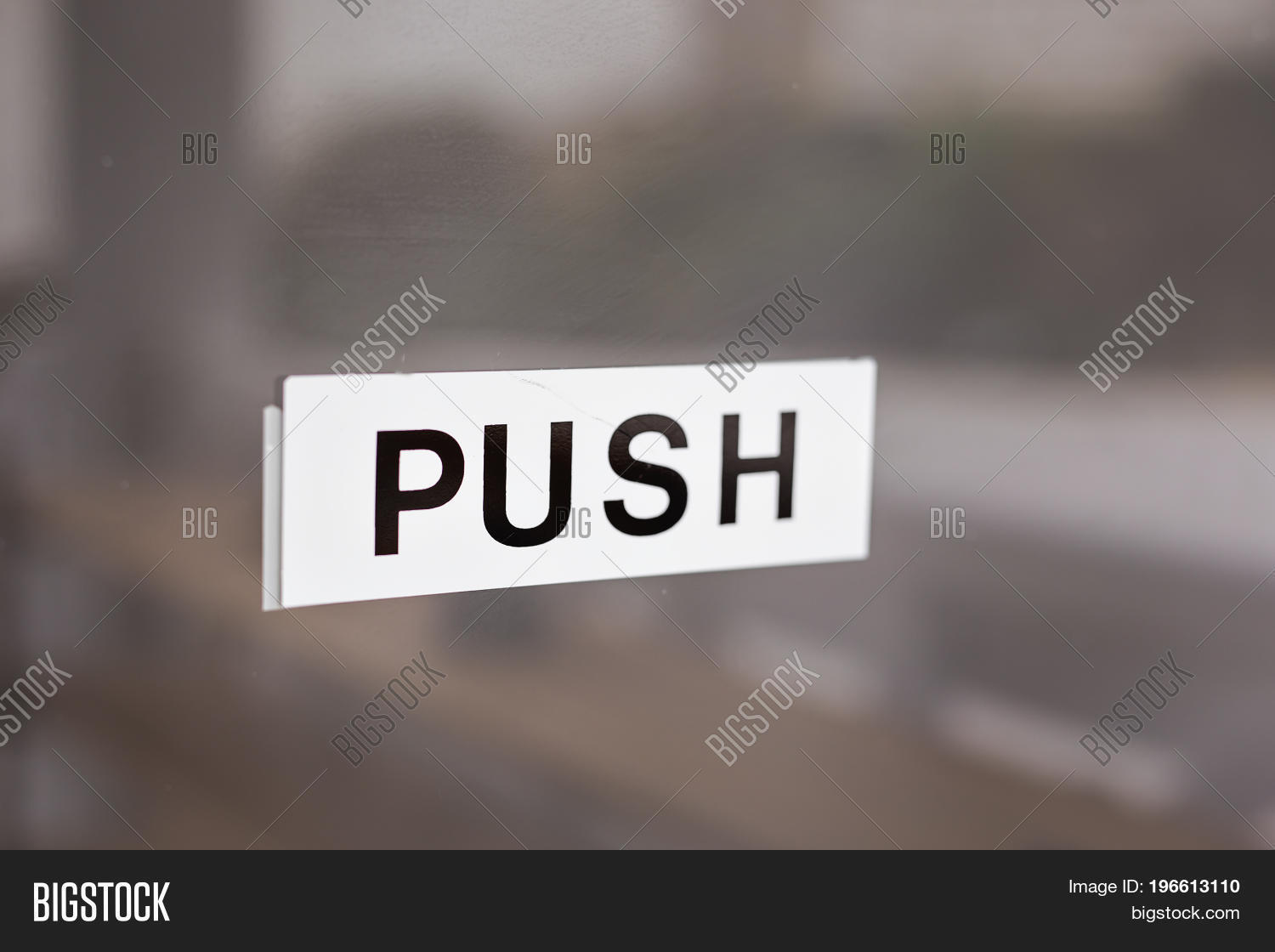 Push Sign On Glass Door Inscription