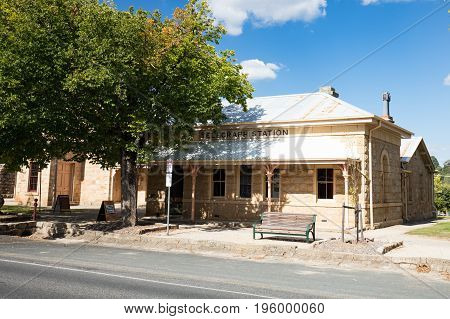The historic Beechworth Telegraph Station on a warm autumn day in Victoria, Australia