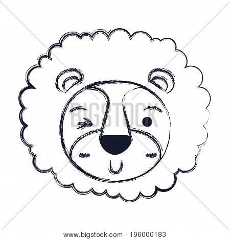 cute face of lion wink eye expression with mane vector illustration