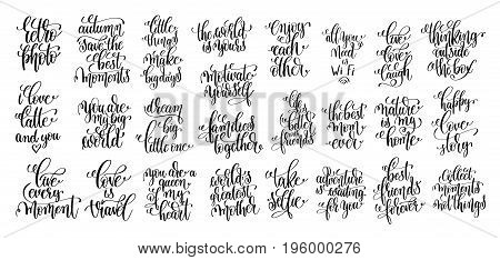 set of 25 hand lettering motivational and inspirational quotes poster, calligraphy vector illustration collection