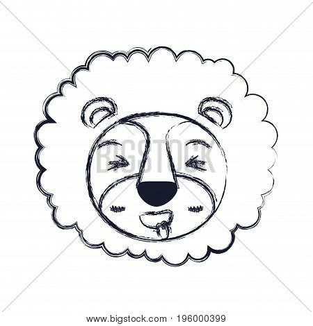cute face of lion sticking out tongue expression with mane vector illustration