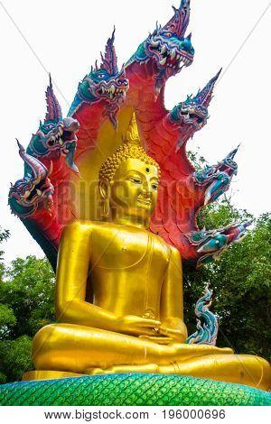 The beautiful buddha with King naga Mujarin at Wat BuraphaUbonratchathani ProvinceThailand.