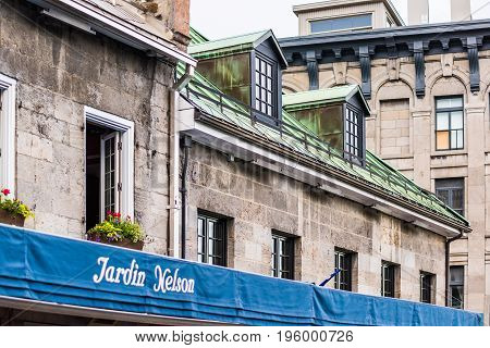 Montreal, Canada - May 27, 2017: Old Town Area Jacques Cartier Square With Restaurant Called Jardin