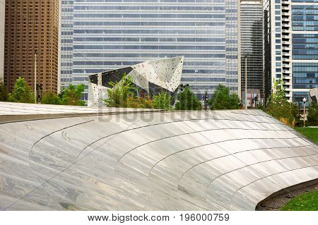 Chicago IL USA october 27 2016: Climbing Wall at Maggie Daley Park in Chicago with Bp pedestrian path in foreground