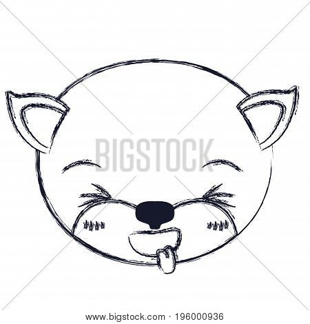 cute face of kitten sticking out tongue expression vector illustration