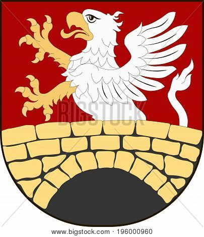 Coat of arms of Gmina Zamosc is a rural gmina in Zamosc County Lublin Voivodeship in eastern Poland. Vector illustration from the