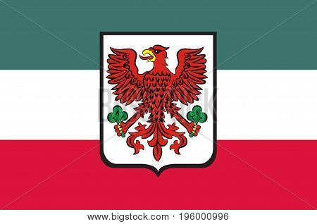 Flag of Gorzow Wielkopolski city in Lubusz Voivodeship in western Poland. Vector illustration