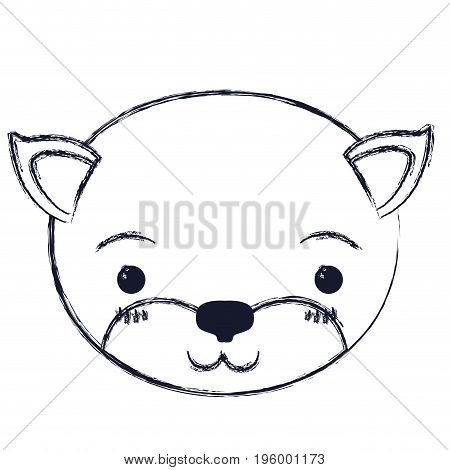 cute face of kitten tranquility expression vector illustration