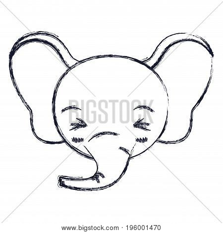 cute face of elephant happiness expression with eyes closed vector illustration