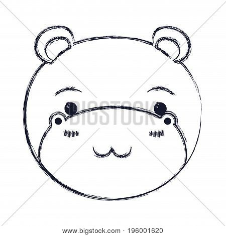 cute face of hippo tranquility expression vector illustration