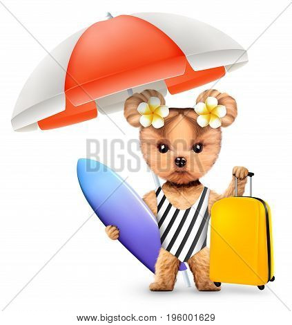 Funny animal in swimsuit with umbrella and baggage holding surf. Concept summer holidays, travel vacation concept. Realistic 3D illustration.